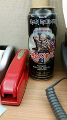 Crappy Beer but GREAT Stapler (Pak T) Tags: beer beverage drink alcohol samsunggalaxys5 tmobile england english bitter british beerporn ironmaiden trooper can stapler red swingline milton officespace office iron maiden