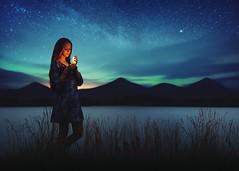 lights (Bara Vavrova) Tags: northern lights aurora norway night dark candle light green blue