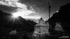 Markha valley, Ladakh (Bharat Baswani) Tags: sun peace gloomy grim buddhism silence valley rays kashmir drama bnw himalayas ladakh jammu markha chortens