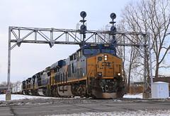 CSX 3027 (GLC 392) Tags: light snow search michigan plymouth signals co pm ge csx 3027 gevo 7598 7872 es44ac 7728