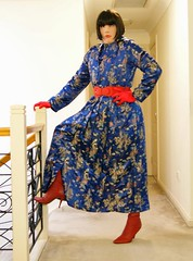 Cat dAzur (3) (Furre Ausse) Tags: blue red leather asian belt dress boots coat chinese gloves oriental satin qipao cheongsam