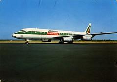 Italy - DC-8 - Alitalia - 1977 - front (Ye-Di) Tags: 1977 postcard cartolina mcdonneldouglas dc8 alitalia italy italia jet turbofan jetliner airliner 70s airport aircraft airplane ansichtskarte aviation