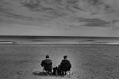 We hate crowds ! (CJS*64) Tags: 2 two people bw beach monochrome wales mono blackwhite sand nikon sat nikkor dslr chill daytrip chilled dayout rhosonsea cjs northwales nikkorlens 18mm105mmlens d3100 nikond3100 craigsunter cjs64