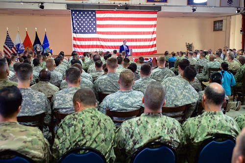 Secretary Kerry Addresses a Cross-Service Corps of U.S. Service Members Stationed at Camp Lemonnier