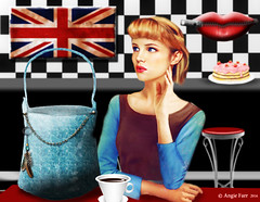 """Cherry contemplated the easiest route out of the coffee shop, she really shouldn't have blown all her wages on the new """"to die"""" for bag!! (rubyblossom.) Tags: rubystreasurechallenge66 retro cafe diner coffee handbag cup flag great britain lips zip woman rubyblossom 2016"""