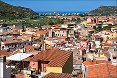 bosa (heavenuphere) Tags: bosa oristano sardegna sardinia sardinie italia italy europe island colourful houses architecture landscape hills mediterranean sea water blue sky view 24105mm