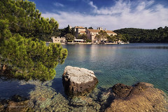 monk's mission (cherryspicks (intermittently on/off)) Tags: mljet croatia benedictine monastery island adriatic historic architecture building landscape lake water sea outdoor scenery travel