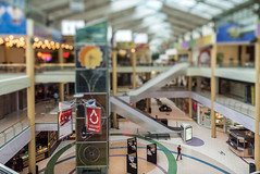The Mall at the Itty-Bitty-City (Sharky.pics) Tags: urban city grandavenue mall tiltshift wisconsin shopsofgrandavenue july cityscape 2016 miniature milwaukee downtown