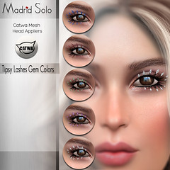 Tipsy Lashes-(Gem Colors)- Catwa Mesh Head (Madrid Solo) Tags: madridsolo catwa appliers eyelashes lashes