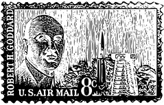 8¢ Robert Goddard/Project Mercury Stamp Vector (sjrankin) Tags: edited stamp illustartion usps grayscale vector 1964 airmail projectmercury robertgoddard 8¢ 27march2015