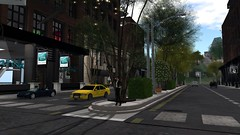 Midtown (alexandriabrangwin) Tags: world life street city urban newyork black nature sunglasses leather fashion computer for 3d graphics shiny day crossing pants expo cab taxi exploring jacket secondlife virtual strip porsche zebra gt stores midday cgi carrera alexandriabrangwin