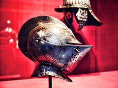 Profile of Chivalry (Trippin' all over the place) Tags: red art statue metal museum lumix fight helmet stlouis knight warrior brave midevil chivalry gx7
