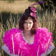 Saloon Girl Gone Bad-01 (eriknorderphotography) Tags: pink newzealand christchurch outdoors flash feathers burlesqueperformer sony70200f28g sonyalpha550