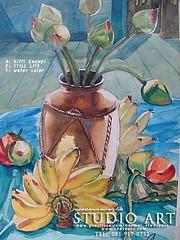 ภาพสีน้ำดอกบัว Lotus