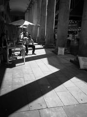 (Stokesmachine) Tags: barcelona street camera b light shadow white black dark spain market g w small bcn pillar catalonia r gr ricoh