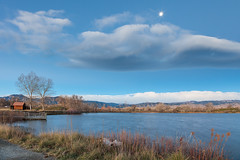 Moon Dawn (Michael Deleon Photo) Tags: morning autumn moon foothills mountains clouds reflections dawn colorado unitedstates boulder ponds waterscapes sawhillponds bouldercountyopenspace