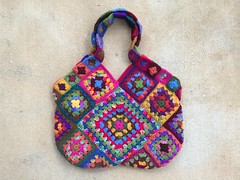 One side of my granny square bag for 2015 (crochetbug13) Tags: bag square squares crochet purse scrap tote grannysquare grannysquares