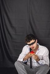 Imminent Danger (figugu) Tags: gay boy red selfportrait black art strange fruit danger dark photography weird dangerous nikon autoportrait blind random young mexican visual fotografa tumblr d3100 figugu