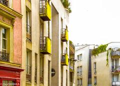 Yellow Balcony (Belleville, 20me Arr.) (DesOMBAKA) Tags: paris france streets color tourism architecture buildings cityscape citylife streetphotography photojournalism touristattraction streetshot travelphotography famousplace internationallandmark traveldestination labuttemontmartre