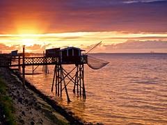 Sunset sur cabanes de pecheurs (Patevy Damant) Tags: aquitaine ciel coucherdesoleil exterieur gironde jour medoc nuages olympus paysage sunset