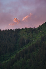 Fog and Light (redblur) Tags: tmb tourdumontblanc lescontamines france hike mountain fog sunset light snow trees travel vacation pink sky blue landscape fineart