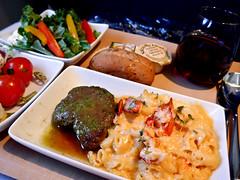 photo - Dinner, AA Biz Class SFO - PHL (Jassy-50) Tags: photo americanairlines domesticfirstclass aa airline food meal pasta macaronicheese macncheese beef salad tomato rool wine ireland2icelandcruise