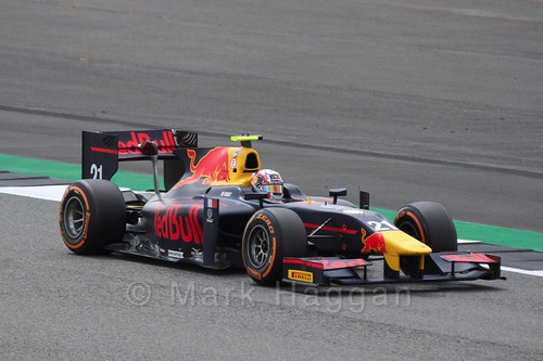 Pierre Gasly in the Prema Racing car in GP2 Practice at the 2016 British Grand Prix