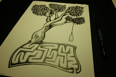 Sketch 012 (Sellanes Sketch Journal) Tags: sketch drawing artwork art gallery museum ink inkart tree labyrinth bottle dibujo tinta sellanes leaves leaf