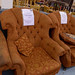 Wing back terracotta fabric back armchair €130