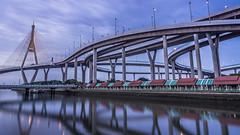 """Bhumibol Bridge"" (suwaparnjaruchaisittikul) Tags: bridge across bangkok thailand"