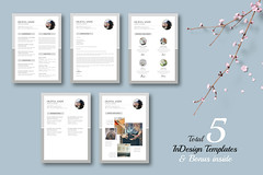 Resume Pack - Olivia with BONUS (Typography Prime) Tags: a4 fashion indesign corporate summer resume coverletter photography reference minimal pack proposal template typography letter studio business portfolio lookbook brochure bundle projects estimate adobe cv