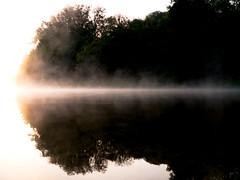 Symmetry (Algemir) Tags: morning  river  water  fog mist  sunrise  reflection  symmetry