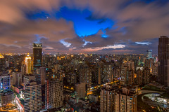 Nightscape of Shanghai City (HIKARU Pan) Tags: 1dx 24l asia canonef24mmf14liiusm china chinese eos1dx longexposure photography shanghai wideangle aerialview city cityscape horizontal landscape night nightscape outdoors