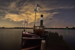 Adelaar (Eagle) (Dannis van der Heiden) Tags: adelaar steamboat steam engine manualfocus longexposure nijkerk netherlands water pier night stars clouds tamron1024mm slta58