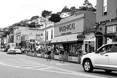 Sausalito (MattPat1031) Tags: california blackandwhite bw cyclists nikon unitedstates storefront nikkor sausalito d5300 35mmf18g nikond5300