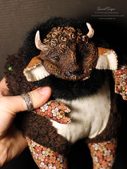 Plush_Bison4 (Sweet_Sign) Tags: brown black flower cute art home nature face animal wow fur wonder toy design beads nice fantastic buffalo doll soft mask handmade spirit miracle interior critter magic horns fluffy craft totem plush kind textile fantasy clay gift kawaii plushie beast artdoll lovely creature bison decor taurus softtoy fauxfur stichedbyhand sweetsign smokestone interiordoll sewitmanually