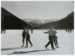 Skating on Lake Ida near Christchurch. (Archives New Zealand) Tags: archivesnewzealand archives archivesnz canterbury iceskating 1967 nz newzealand newzealandhistory christchurch lakeida nationalpublicitystudios nzhistory winter