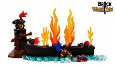 Pirate Captain (BrickWarriors - Ryan) Tags: brickwarriors custom lego minifigure weapons helmets armor hat tricorn bicorn blunderbuss pirate torch boat ship coat fort colonial