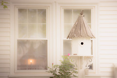 Neighborhood Light (jm atkinson) Tags: new window harbor seaside candle purple cottage maine birdhouse pemaquid hww windowwednesday