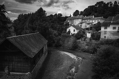 Other Time. (Grf f the Pp [@Grfbd]) Tags: village bw france canoneos70d river houses trees clouds