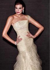 Chic Lace & Tulle One Shoulder Neckline Floor-length Sheath Sexy Prom Dress (miyadresses2016) Tags: chicdress lacedress oneshoulderdress sheathdress sexypromdresses golddress prettydress halterdress
