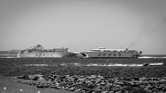 Going head to head... (ismcgregor68) Tags: ship ferry sea black white bw tenerife spain monochrome