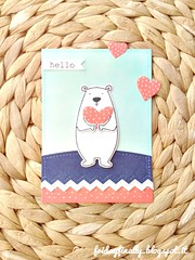 hello EHcard guest challenge (fridayfinally) Tags: hello bear blue red white cute hearts happy pretty polarbear polkadots hugs dots lightblue distressink allinside ellenhutsonllc allinsidedies