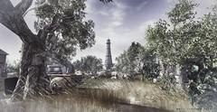 Neverfar (Dexter Farslider inworld) Tags: neverfar landscape lighthouse car trees sky secondlife shadows clouds scene serene