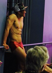 IMG_7176 (danimaniacs) Tags: theater show musical lacageauxfolles hoy shirtless dancer dance speedo bathingsuit trunks red hunk hot sexy man guy male hat cap smile