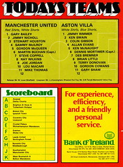 Manchester United vs Aston Villa - 1980 - Back Cover Page (The Sky Strikers) Tags: manchester united aston villa football league division one old trafford review 20p
