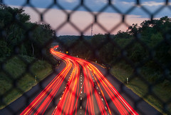 Rush Hour (~gio~) Tags: gsp gardenstateparkway car light rushhour traffic trail flow dusk lane treelined overpass underpass highway parkway toll taillight