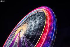 Ferris Wheel Spinning Long Exposure Neons Structure Black Night Rollercoaster (HunterBliss) Tags: architecture below black blur bright bulbs carnival celebration circle circular contrast entertainment exposure fast ferriswheel festival festive from glow glowing happy holiday illuminated lights long metal movement moving neon night party purple red ride rollercoaster round shape shapes spinning structure supports yellow