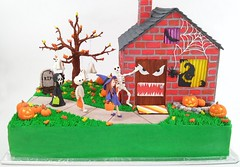 Trick or Treat (Edible Delights) Tags: halloween house ghost tree leaves fall autumn happyhalloween pumpkins jackolantern witch mummy ghostface spider bat gravestone tombstone web fondant cake gumpaste cute decorations oogieboogie monster trickortreat trickortreaters