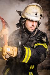 Firefighter (herbertschuette) Tags: firefighter brand feuer feuerwehrmann brandbekmpfung